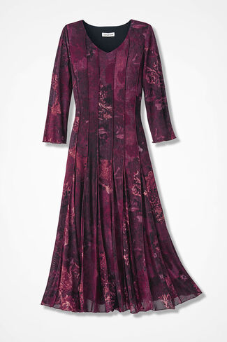 Filigree Floral Mesh Knit Dress, Black/Wine Multi, large