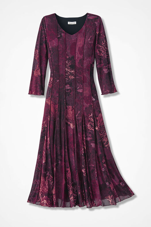Filigree Floral Mesh Knit Dress, Black/Wine Multi, large