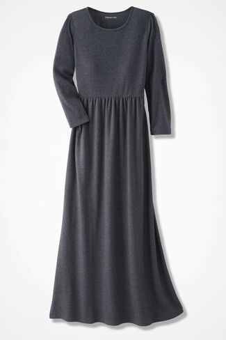 Supima® Maxi Dress, Charcoal Heather, large