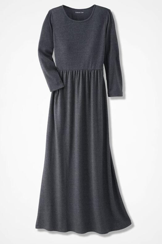 Supima® Maxi Dress, Charcoal Heather, large