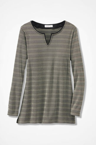 Destinations II Piped Striped Tunic, Brushed Khaki, large