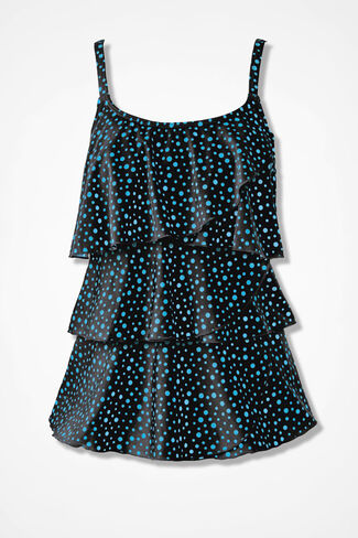 Bubble Up Ruffled Tankini Top, Black, large