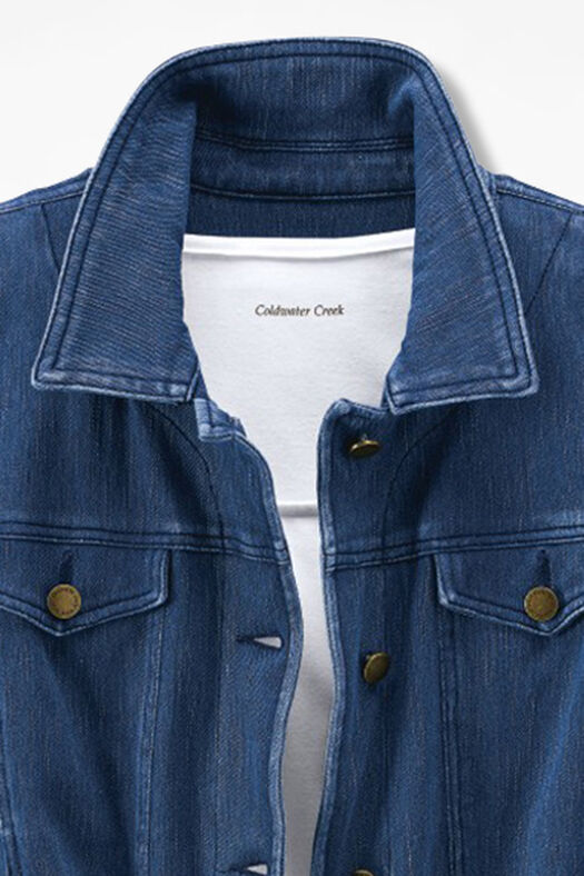 Knit Denim Jacket, Medium Wash, large