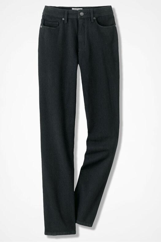 Knit Denim Straight-Leg Jeans, Pitch Black Wash, large