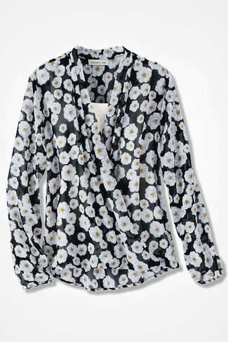 Cheerful Poppies Wrap-Look Blouse, Black, large