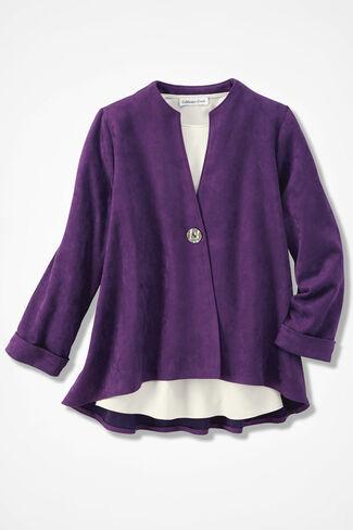 Freeform Faux Suede Jacket, Plum, large