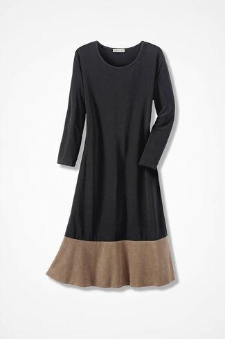 Sueded Surprise Trapeze Dress, Black, large