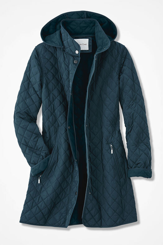 Hooded Quilted Car Coat, Tucson Teal, large