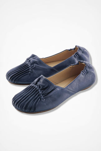 Pintuck Leather Flats, Ranch Blue, large