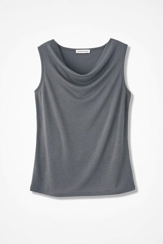 Drape-Neck Shell, Slate Grey, large