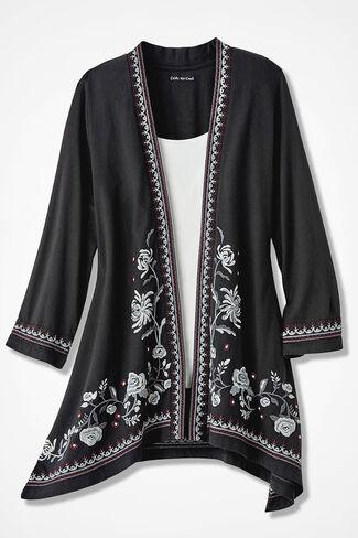 Rambling Roses Embroidered Cardigan, Black, large