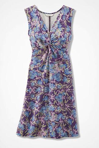 Floral Print Twist-Front Knit Dress, Plum Multi, large