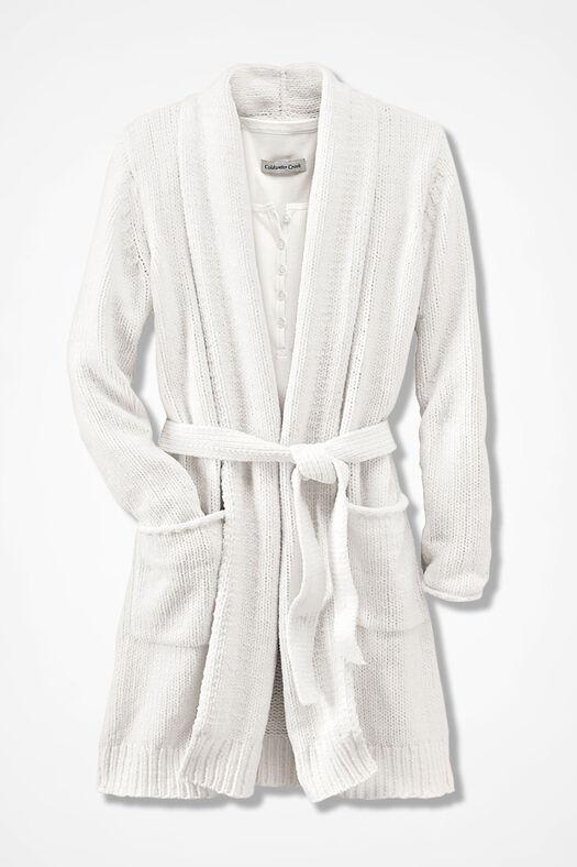 Fireside Chenille Robe, Ivory, large