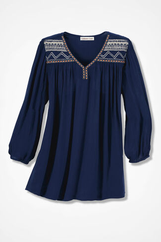 Cimarron Embroidered Blouse, Navy, large