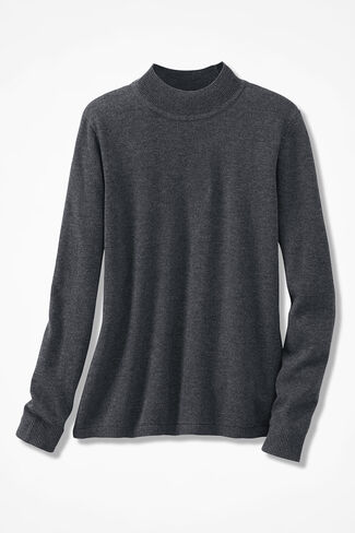 Day-to-Day Mockneck Sweater, Charcoal Heather, large