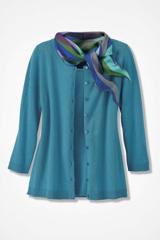 Three-Quarter Sleeve Classic Cardigan, Cerulean, large