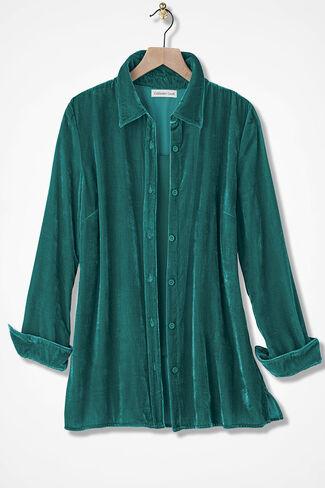 Velvet Big Shirt, Emerald, large
