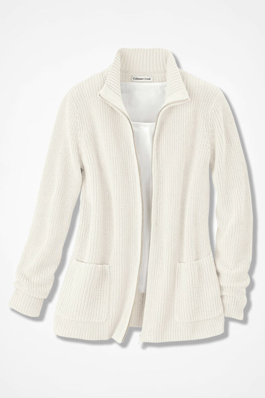 Shaker Zip-Front Cardigan, Antique White, large