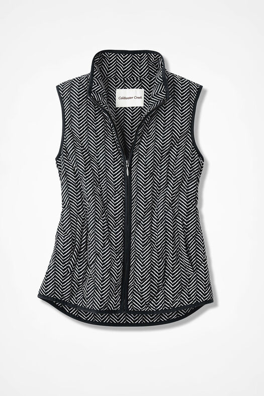 Herringbone Print Vest for all Seasons, Black Multi, large