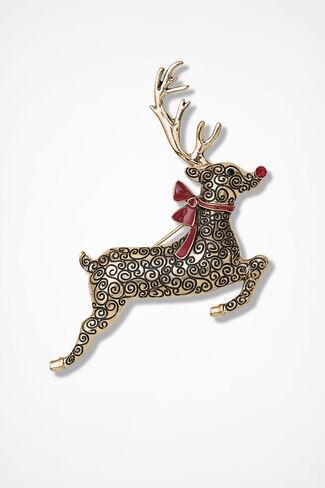 Red Ribbon Reindeer Pin, Gold, large