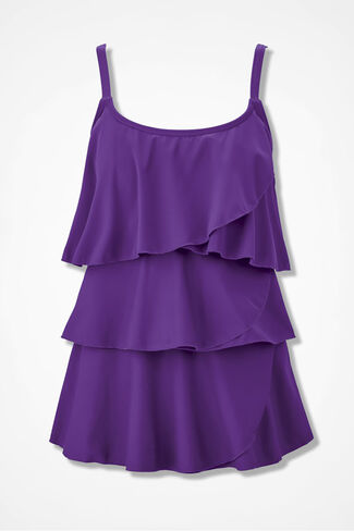 Solid Tankini Top, Purple, large