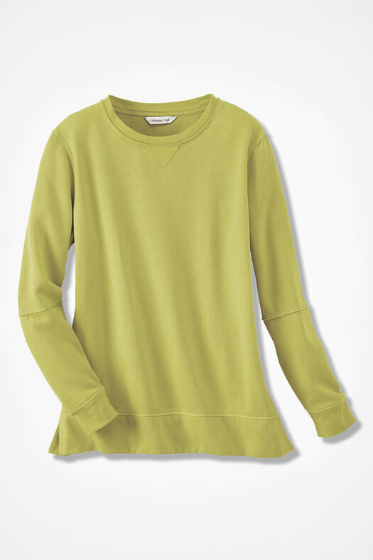 Colorwashed Fleece Pullover, Citron, large