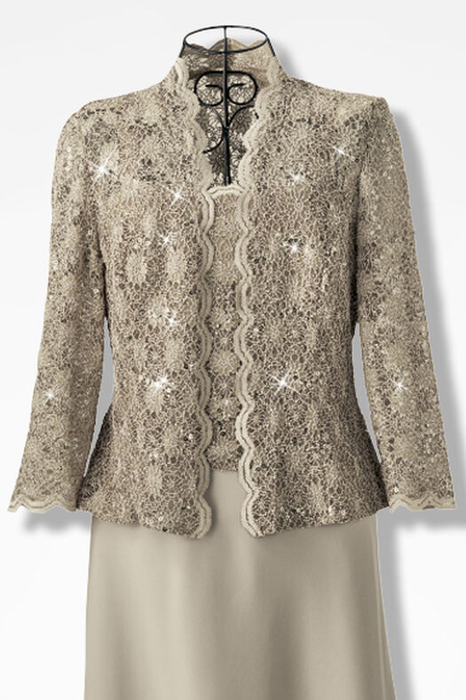Sparkling Lace Jacket Dress by Alex Evenings Coldwater Creek