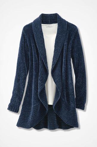 Chenille Embrace Wrap Sweater, Midnight Blue, large