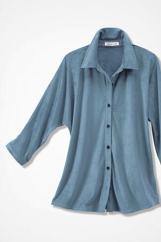 Faux Suede Dolman Shirt, Lagoon, large