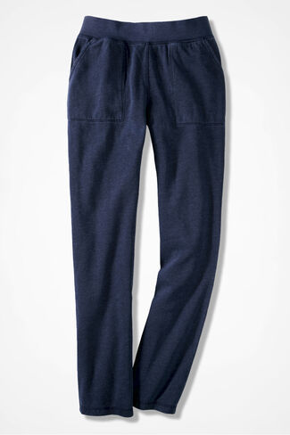 Colorwashed Fleece Straight-Leg Pants, Navy, large