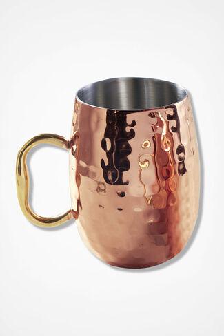 Hammered Copper-Finish Mug, Copper, large