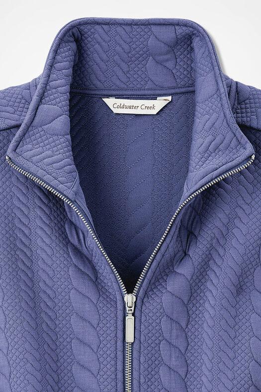 Curved-Hem Cabled Vest, Thistle, large