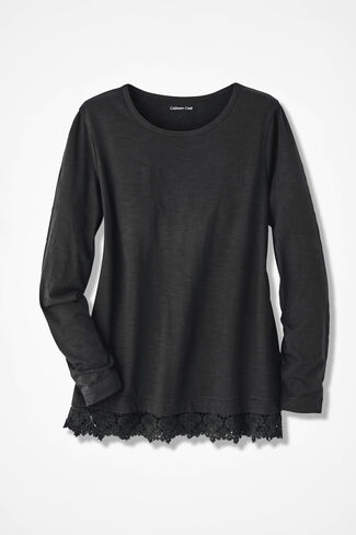 Peek of Lace Tee, Black, large