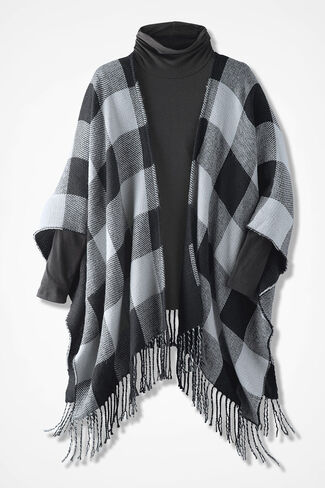 Double-Check Knit Ruana, Black/Ivory, large