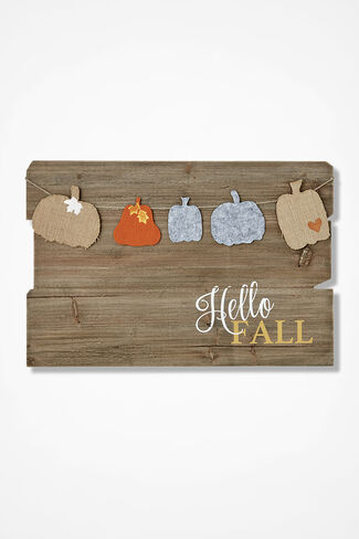 """Hello Fall"" Wooden Wall Hanging, Brown, large"