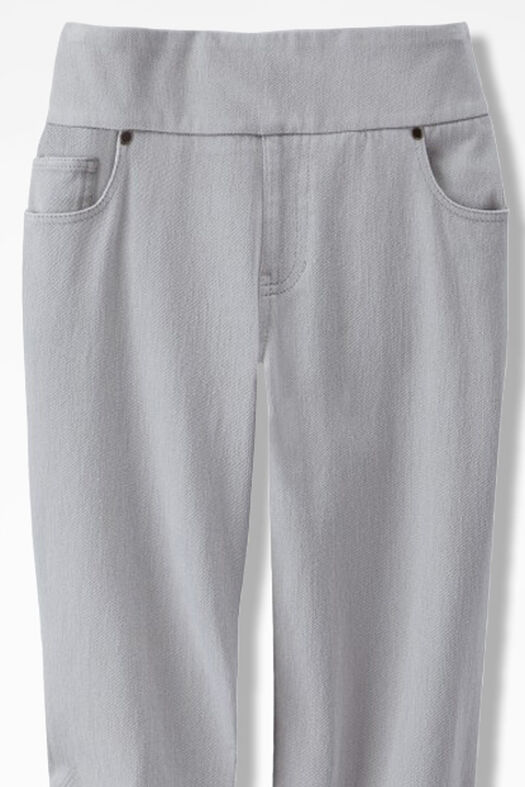 Knit Denim Pull-On Slim-Leg Jeans, Shell Grey, large
