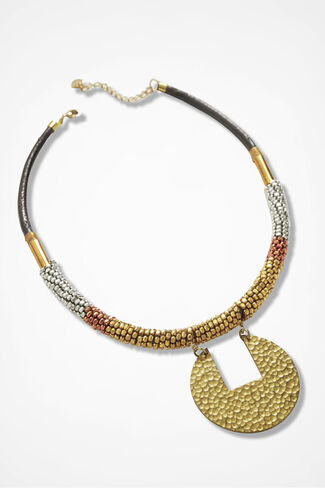Metal Arts Seed Bead Necklace, Gold, large