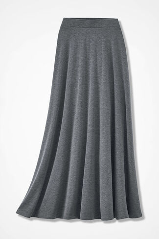 Sweep-n-Swirl Knit Maxi Skirt, Heather Grey, large