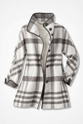 Dashing Plaid Swing Coat, Ivory Multi, large