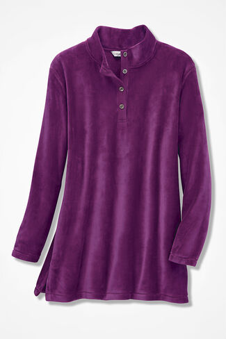 Oversized Plush Henley, Currant, large
