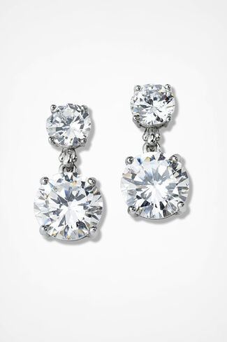 Dramatic Dazzle Drop Earrings, Clear, large
