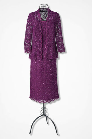 Sequins & Lace Jacket Dress by Alex Evenings, Currant, large