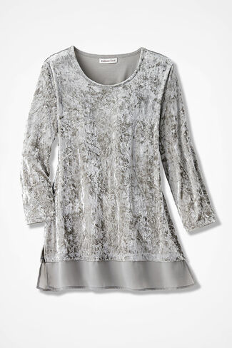Chiffon Peek Panne Velvet Tunic, Shell Grey, large