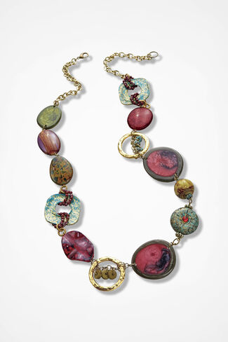 Abstract Array Chunky Necklace, Garnet Multi, large