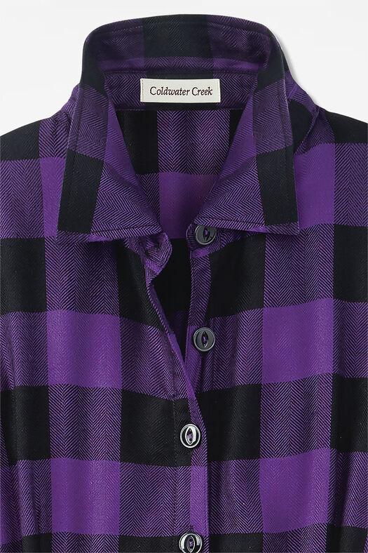 Buffalo Check Shirtdress, Plum, large