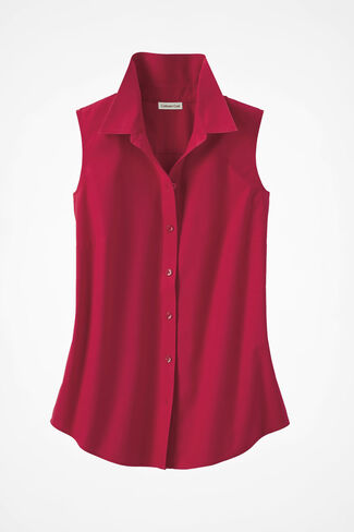 Sleeveless Easy Care Shirt, Fresh Red, large