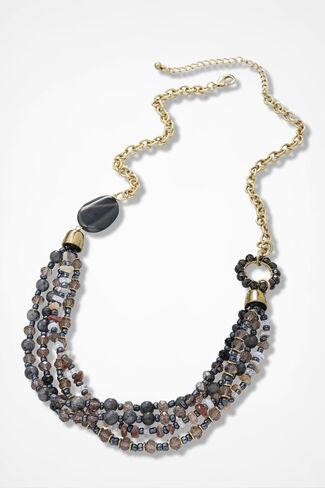 Side-to-Side Multi-Strand Necklace, Black Multi, large