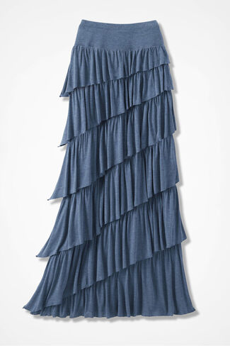 New Angle Maxi Skirt, Indigo Heather, large
