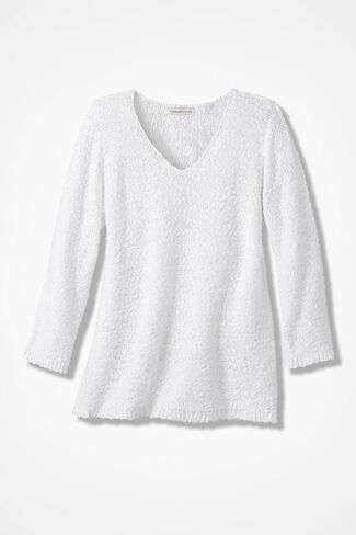 Classic Textured Sweater, White, large