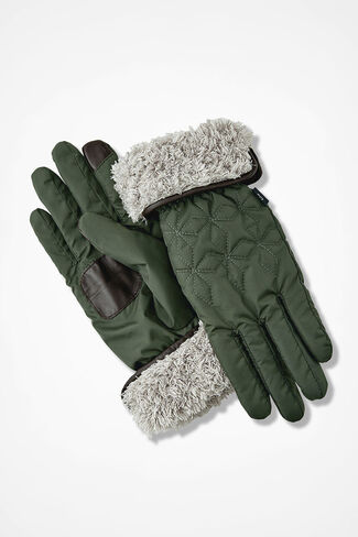 Fleeced-Lined Quilted Gloves, Vine, large